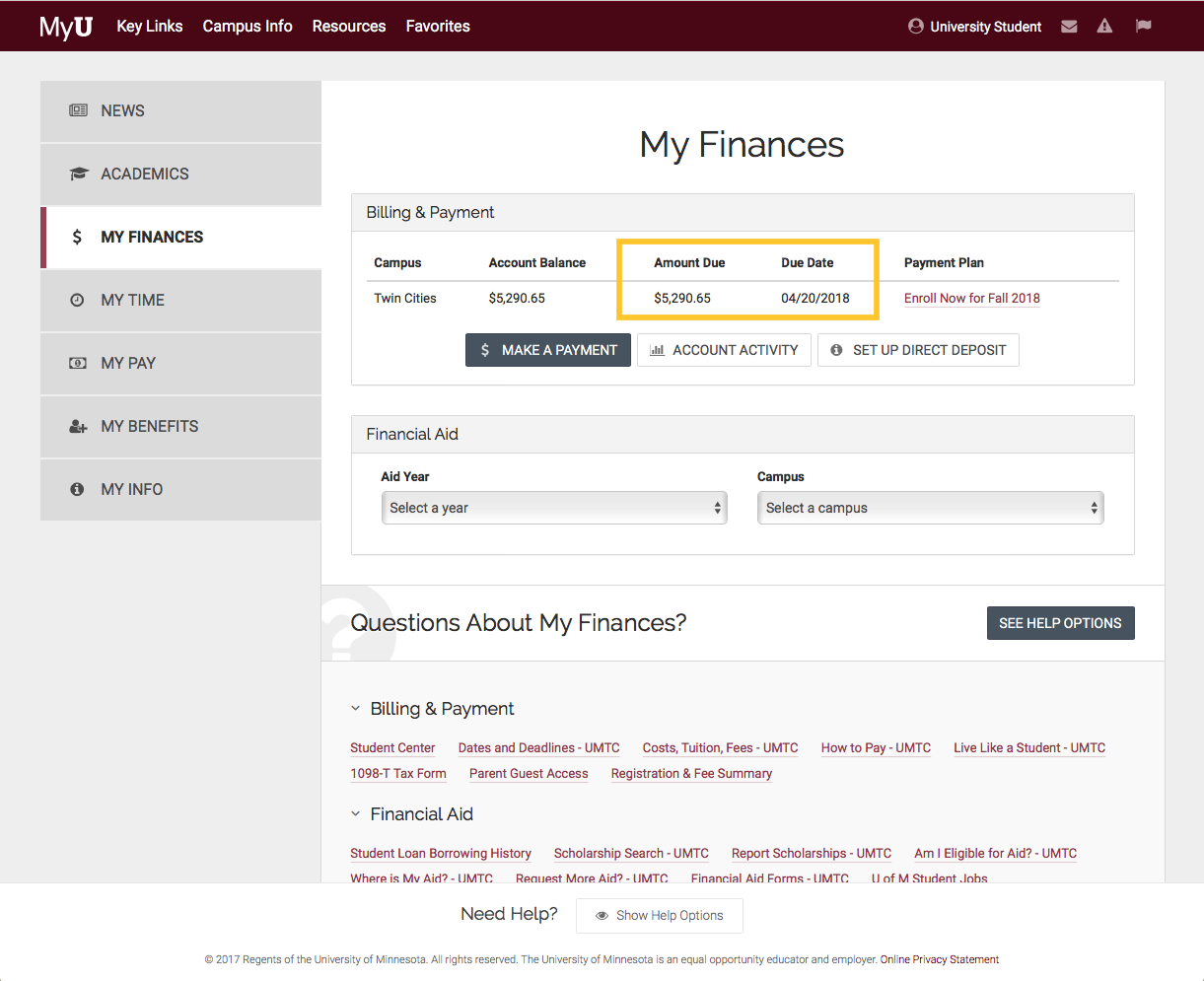 Amount and due date displayed in MyU at the top of the the My Finances tab.